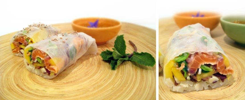 Rouleaux de printemps saumon mariné germes de tournesol germes de soja